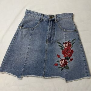 MinkPink Disney Embroidered Rose Denim Mini Skirt